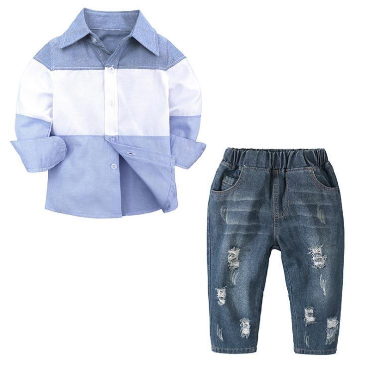 79595d14e6 Compre Juegos De Ropa De Otoño Para Niños Bebés Ropa De Moda Para Niños  Conjuntos De Ropa Para Niños Juego De Remiendo De Color Camisas + Jeans  Pantalones ...