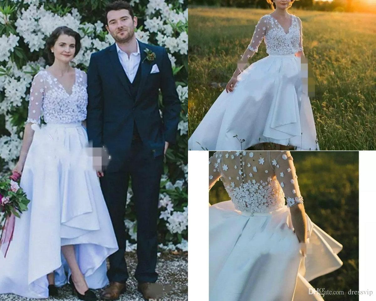 4d66afb7b9d19 2018 High Low Country Wedding Dresses Lace Applique Satin V Neck Half Long  Sleeve Wedding Gowns Elegant Plus Size Short Bridal Dress