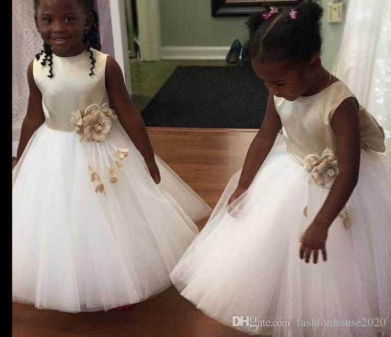 a02973f0f3a Champagne Flower Girls Dresses For Weddings Princess 2018 Satin Tulle Big  Bow 3D Flowers Sleeveless African Little Kids Holy Pageant Dress Latest  Girls ...
