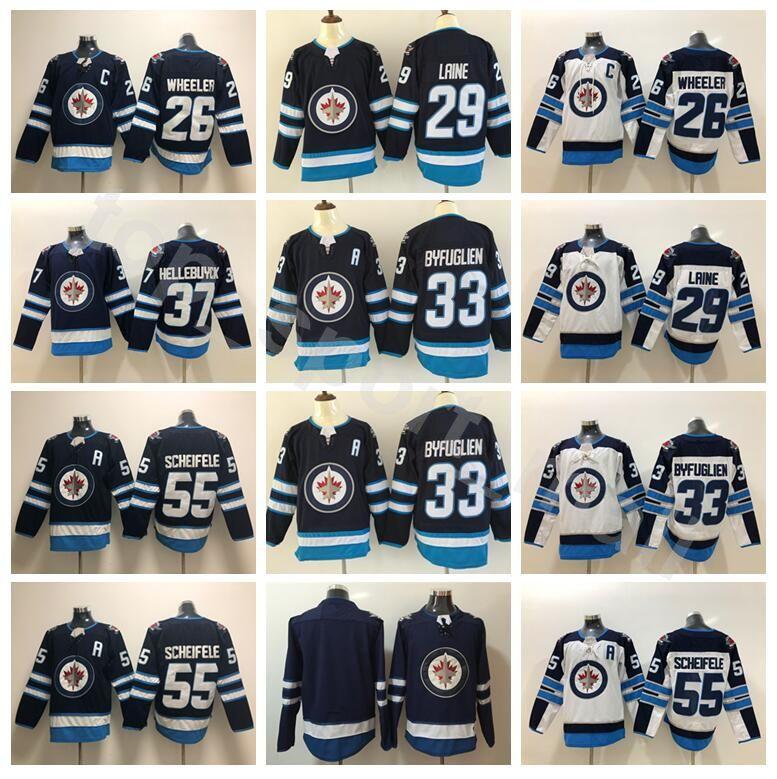 Cheap Hockey 33 Dustin Byfuglien Jersey Winnipeg Jets Blue White 26 Blake  Wheeler 55 Mark Scheifele 29 Patrik Laine 37 Connor Hellebuyck Dustin  Byfuglien ... 994427a84