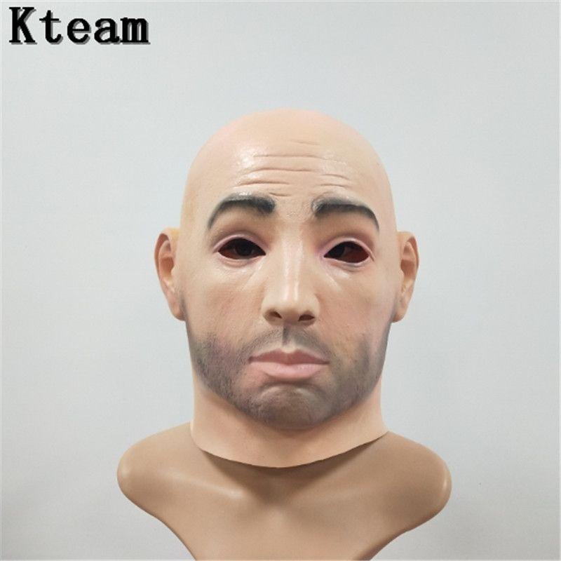 Top GradeArtificial mujer mascarilla capucha Overhead peluca piel humana disfraz Prank traje de maquillaje de Halloween silicona realista máscara Crossdress