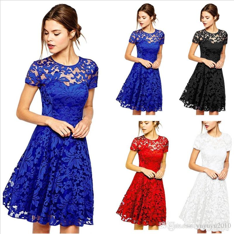 3350e16a256 2019 Women Floral Lace Dresses Short Sleeve Party Casual Color Blue Red  Black Mini Dress 181219 From Yuyuyu2010