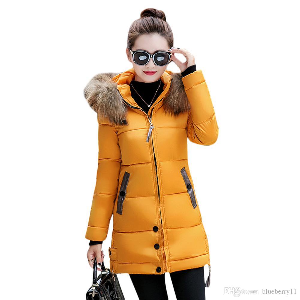 833d81c9a8 2019 Women Winter Warm Down Coat Faux Fur Hooded Parka Puffer Jacket Long  Overcoat Black Green