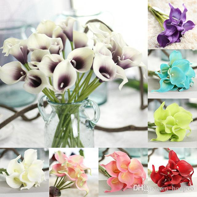 2018 Pu Calla Lily Artificial Flower Bouquet Real Touch Party ...
