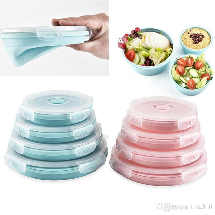 Set Collapsible Round Silicone Food Storage Containers Folding Fresh