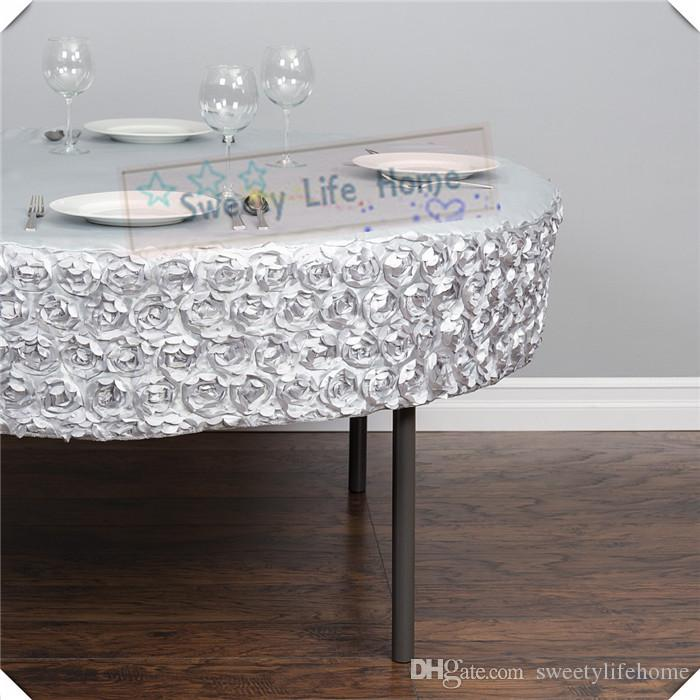 Extra Large Round Table Cloth.Wholesale Price 10pcs Satin Rosette Table Cloths Silver Elastic Table Cover 72inch Round Tablecloth Wedding Spandex Table Spread