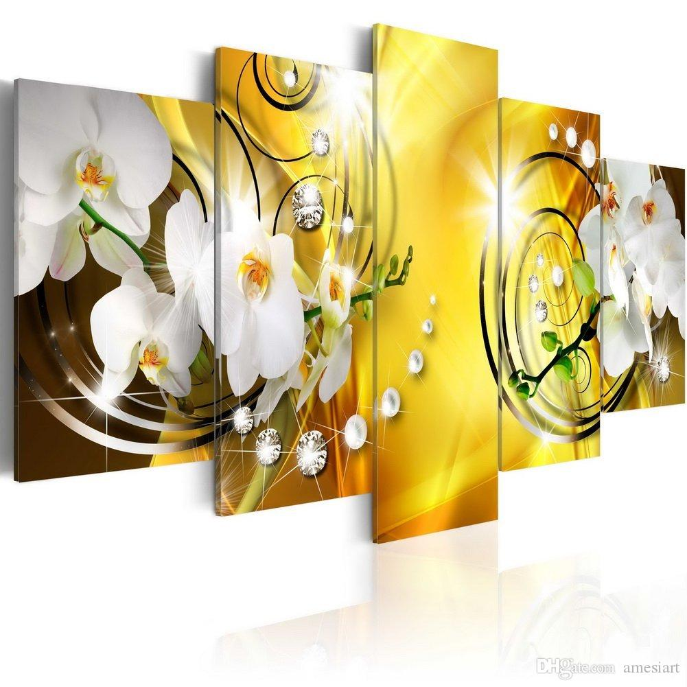 Canvas Painting White Orchid Flowers Wall Art Painting Yellow ...