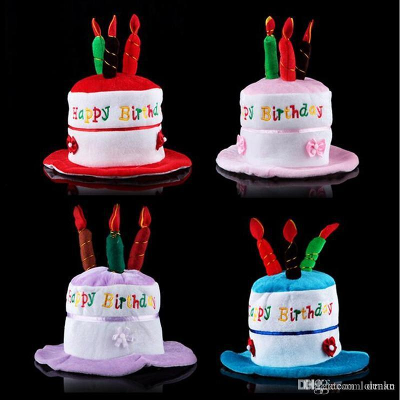 Wholesale Creative Children Birthday Cake Hat Cute Candles Caps Adults Head Wear Party Decorations The Theme From