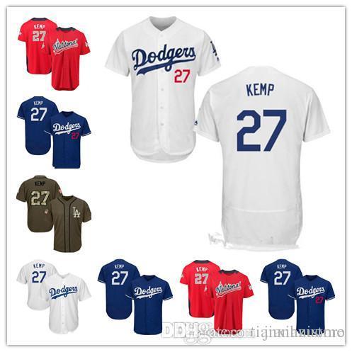new product 2805c 4528e 2019 Men Women Youth Kids Dodgers Jerseys 27 Kemp Baseball Jerseys White  Blue Green Salute to Service Players Weekend All Star
