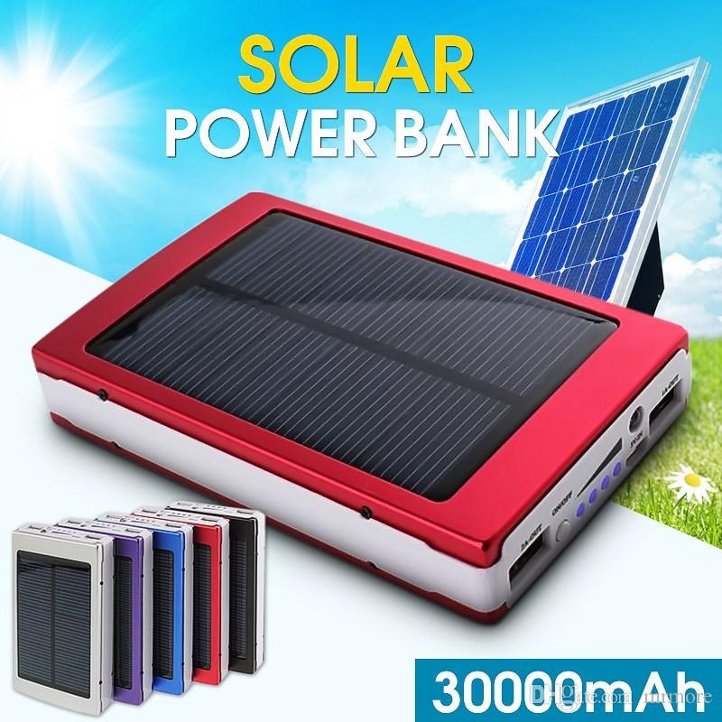e6404cddb1f Compre 30000 Mah Carregador De Telefone Solar E Bateria 30000 Mah Painel  Solar Dual Usb Banco De Potência De Carregamento Com Luz Led Para Todo O  Telefone ...