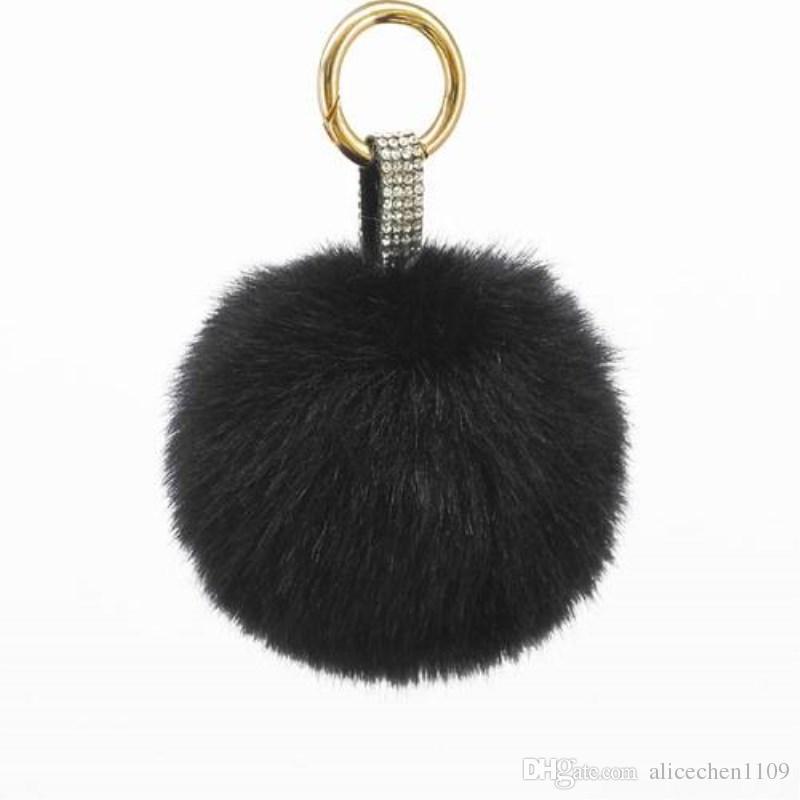 Key Chain Simulated Rex Rabbit Fur Ball Pom Pom Charm Pendant Keychain With  Rhinestone For Lady Girls Handbag Key Ring Key Holders Key Covers From ... 1911134b9a