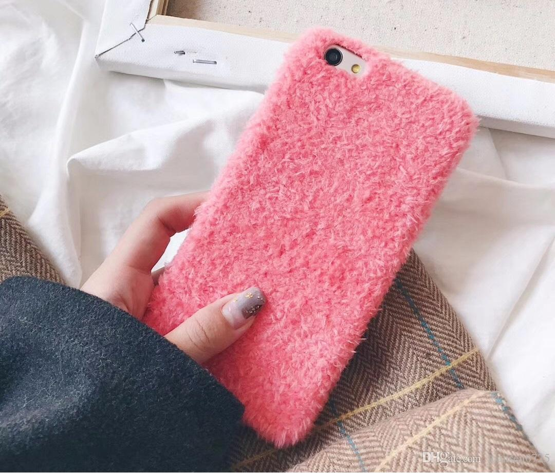 New fashion teddy plush cell phone shell case for iphone X 7 7 plus 8 8plus hard back cover for iphone 6S 6plus OPPO R9 Plus ViVO X20
