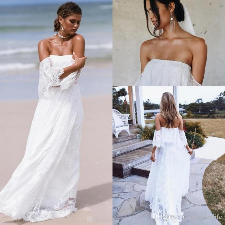 Discount 2018 Vintage Beach Wedding Dresses Backless Bohemian Full ...