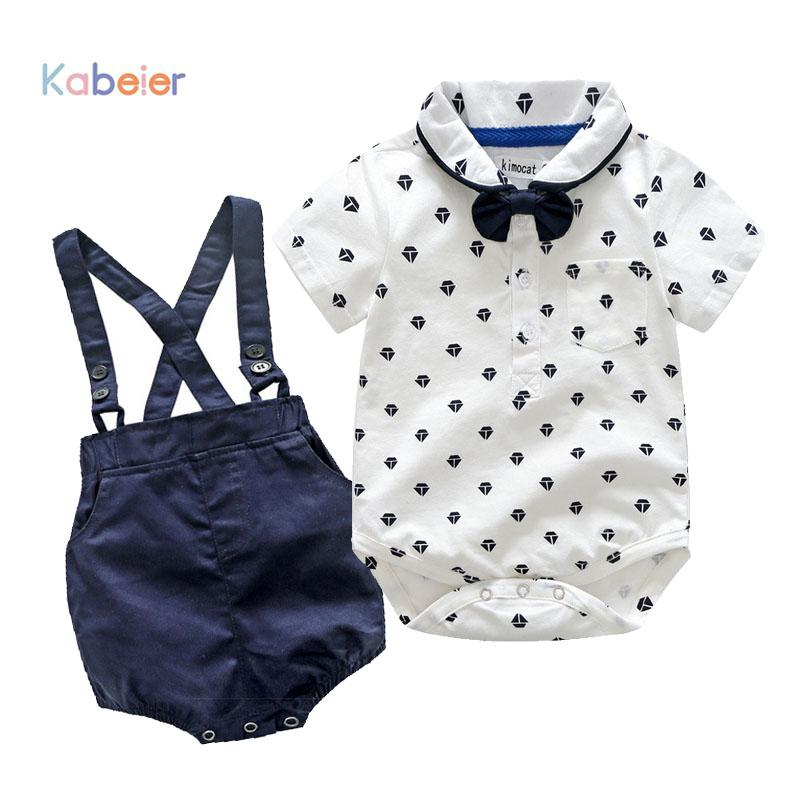 Summer Newborn Boy Clothing Set Cotton Baby Rompers + Strap Shorts 3-24M Baby Suit Butterfly Bow Tie Infant Romper Kids Outwear
