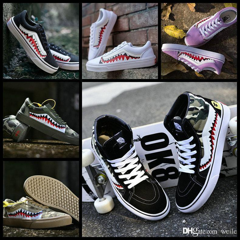87f612d387 2019 Fashion Vault X 17SS SHARK MOUTHS Classic Sk8 Hi LX Custom Old Skool  Casual Canvas Running Shoes For Women Men Skateboard Sport Sneakers From  Weile