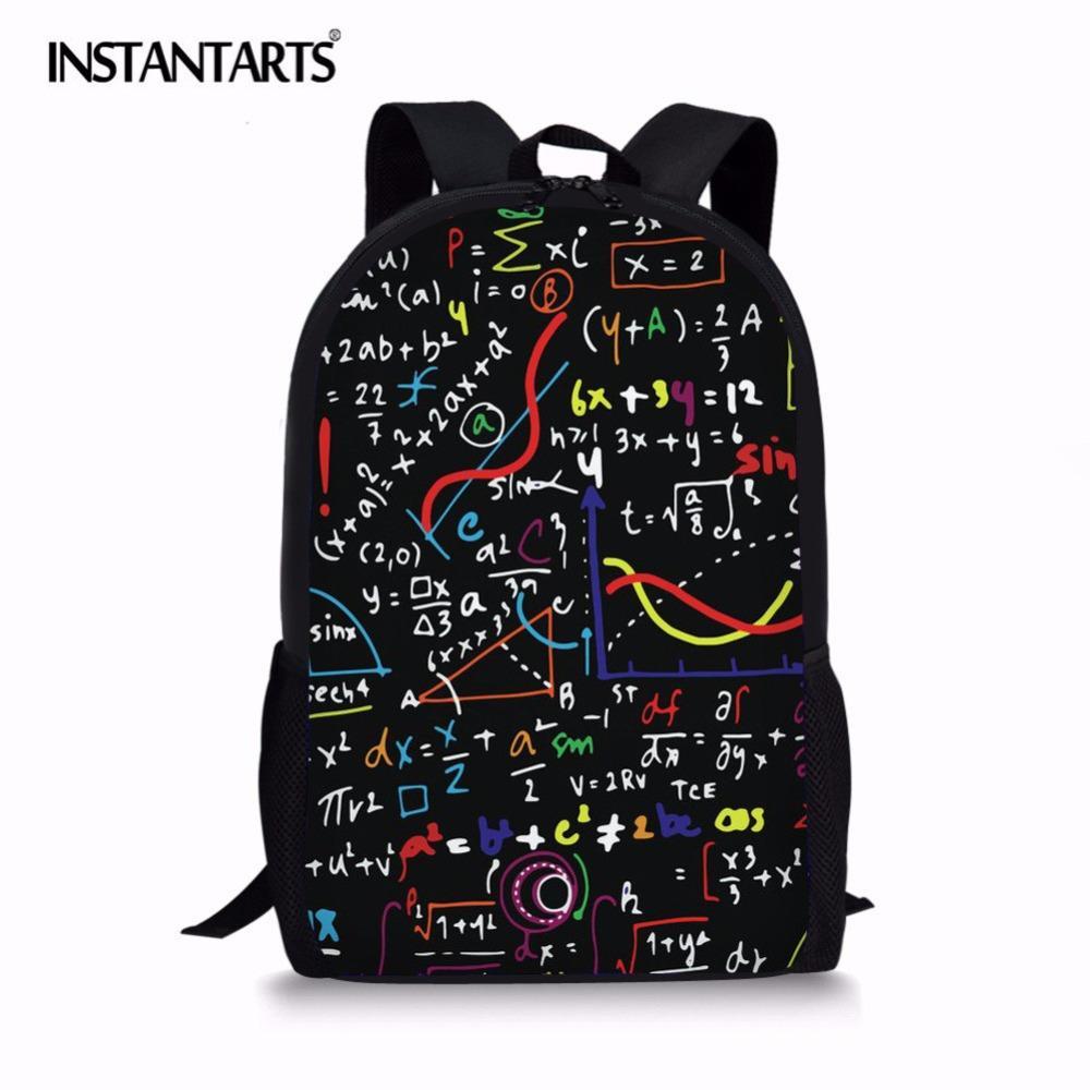 INSTANTARTS Math Formula Printed Backpack Men New Bookbag School ... e86106199786c