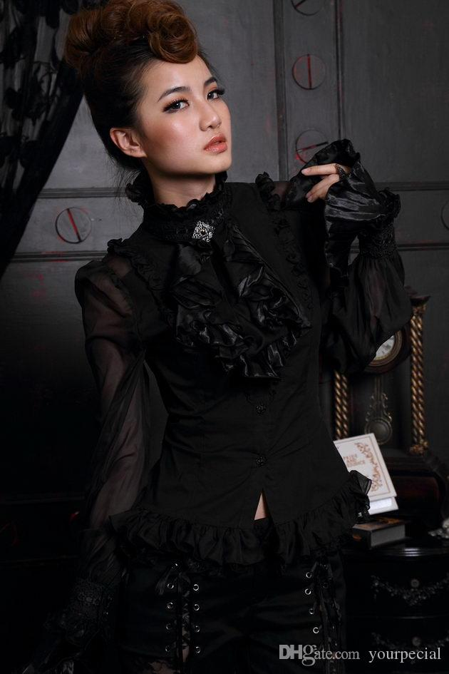 1d9b8ad2bc Compre Mujeres Steampunk Victorian Ruffle Mangas Camisa Jabot Broche Camisa  Gótica RQ BL 21094BK A  37.69 Del Yourpecial