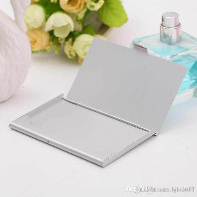 Business name credit id card case holder aluminum business card business name credit id card case holder aluminum business card holder card files aluminum silver color laser engraving can be customized bussiness card reheart Images