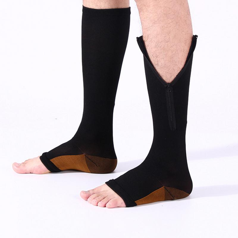 Foot Care Tool L Size Legs Slimming Zippered Sox Compression Socks Zipper Leg Support Knee Stockings Open Toe Beauty & Health