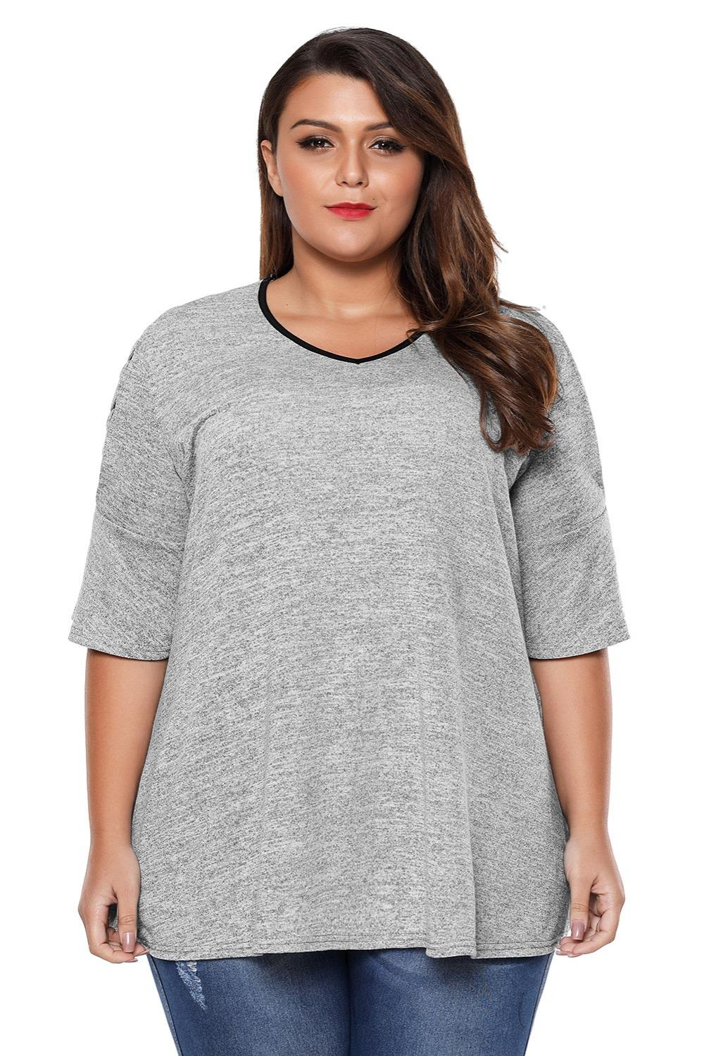 05b07bf38265ff Plus Size T Shirt Lace Up Cold Shoulder Top Casual Fashion Summer O Neck  Short Sleeve Ladies T Shirt Grey 2018 LC25086 Top T Shirt Sites Cool T  Shirts For ...