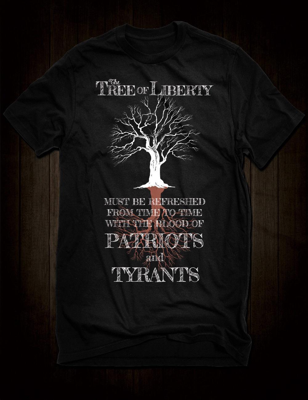 110170e10 New Black Tree Of Liberty T Shirt Thomas Jefferson Tyrants Patriots Blood  Quote Tees Custom Jersey T Shirt Funny T Shirt Sites Crazy T Shirt Sayings  From ...