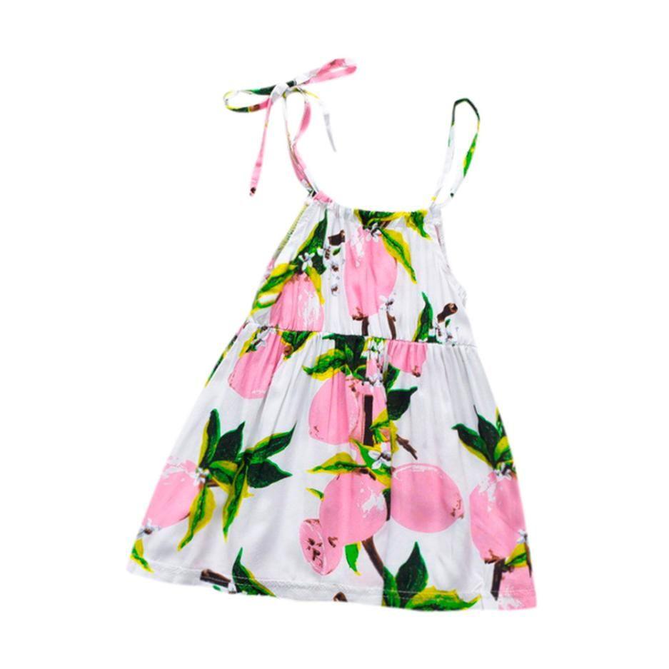 2018 Baby Girl Dress Newborn Baby Girl Summer Clothes Sleeveless Dress Fruit Print Sweet Kids Beach Dresses For