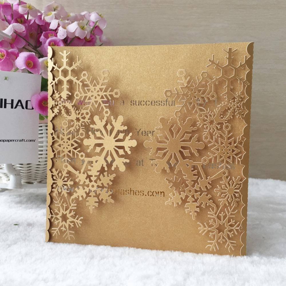 50pcs Laser Cut 250gsm Pearl Paper Christmas Theme Greeting Blessing card Snowflake Design Wedding Invitation Cards