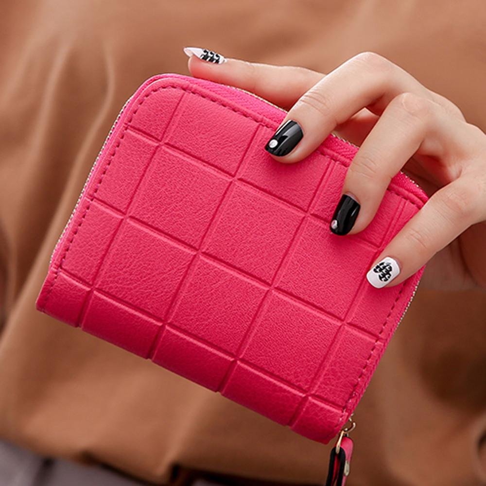 Mulheres Carteira Curta Titular do cartão de crédito Pequeno Mini Zipper Carteiras coin purse Nubuck Xadrez PU de Couro Do Vintage saco de Dinheiro sólido 2017