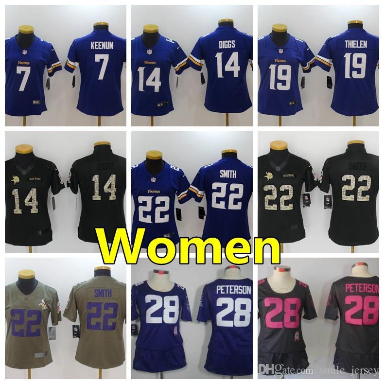 best website b3009 0376f Minnesota Vikings Women Football Jersey 7 Case Keenum 14 Stefon Diggs 19  Adam Thielen 28 Adrian Peterson 22 Harrison Smith Women Jerseys