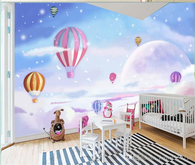 Custom Any Size Mediterranean Hot Air Balloon Habitación para niños Dormitorio Fondo de pantalla Papel pintado no tejido 3D Cartoon Mural