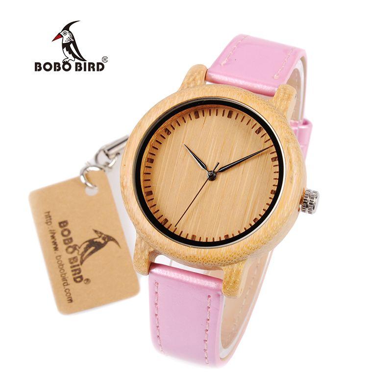 Grosshandel Bobo Vogel Wj08 Bambus Uhr Fur Frauen Einfache Rosa Pu