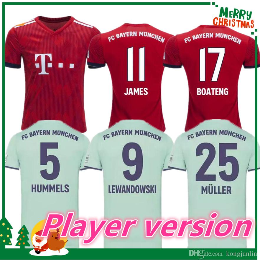 Player Version 2018 2019 Bayern Munich Jerseys Para El Hogar James 18 19  VIDAL COATA LEWANDOWSKI MULLER ROBBEN GOTZE BOATENG ALABA Camiseta Para  Deportes ... 71f1184279b