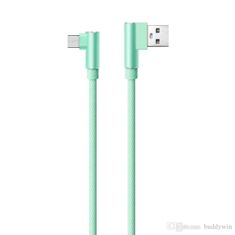 90도 직각 유형 C 마이크로 USB 케이블 빠른 충전기 코드 와이어 삼성 HTC LG 화 웨이에 대 한 1m / 3ft