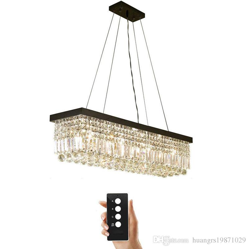 LED 3 Brightness K9 Crystal Black Titanium Stainless Steel Round Ceiling  Lights Fixture Lamp Chandelier Pendant Lights With LED Bulbs