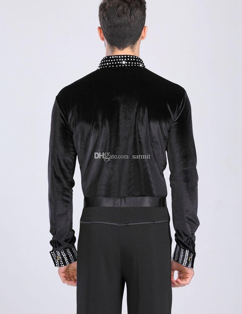 Latin Dance Shirts Men Jumpsuit Latina CHEAPEST D0319 Dance Top Shirt Black Long Sleeve Romper Bodysuits Rhinestones