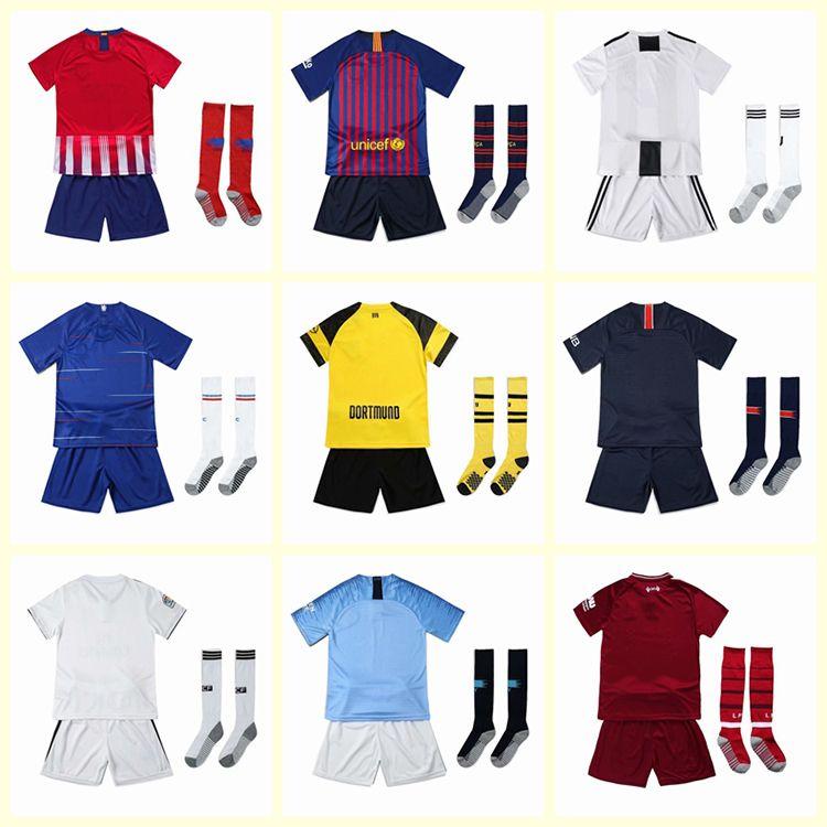 8cf00e288 2018 19 Kids Soccer Jerseys MANE KUN AGUERO TOTTI CORREA Children s Suit 10  MESSI DYBALA Custom Boys And Girls Football Shirt Set +socks Messi Jerseys  ...