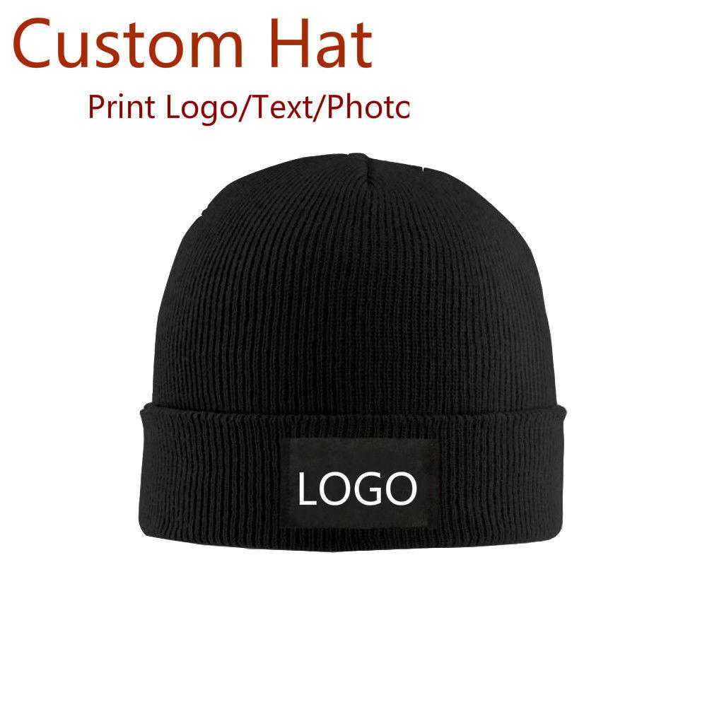 e1206cdd1b468 2019 Custom Personalised Knitted Beanie Hat Warm Winter Cap Print  Logo Text Photo From Superfeel