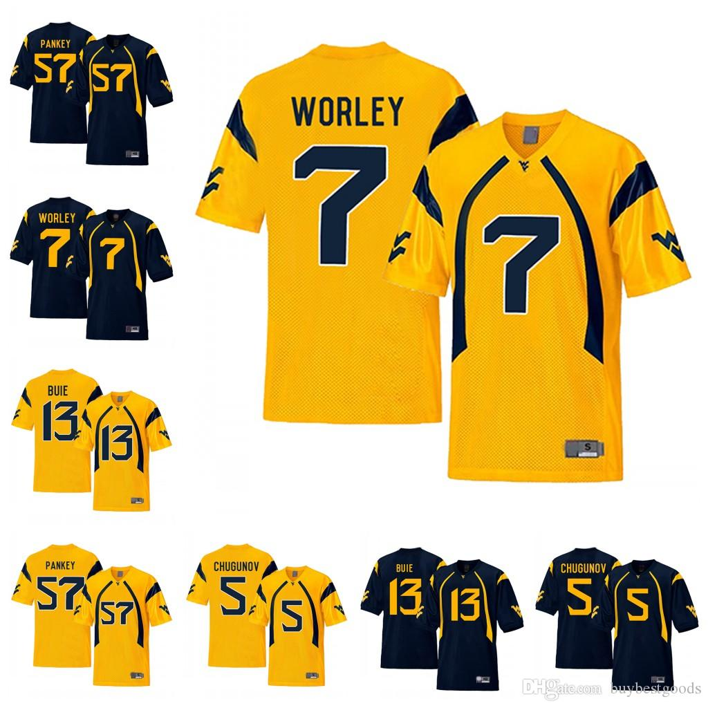 2019 NCAA WVU West Virginia Mountaineers 7 Daryl Worley 5 Chris Chugunov 13  Andrew Buie 57 Adam Pankey Navy Gold College Football Jerseys From  Buybestgoods afb4ad664