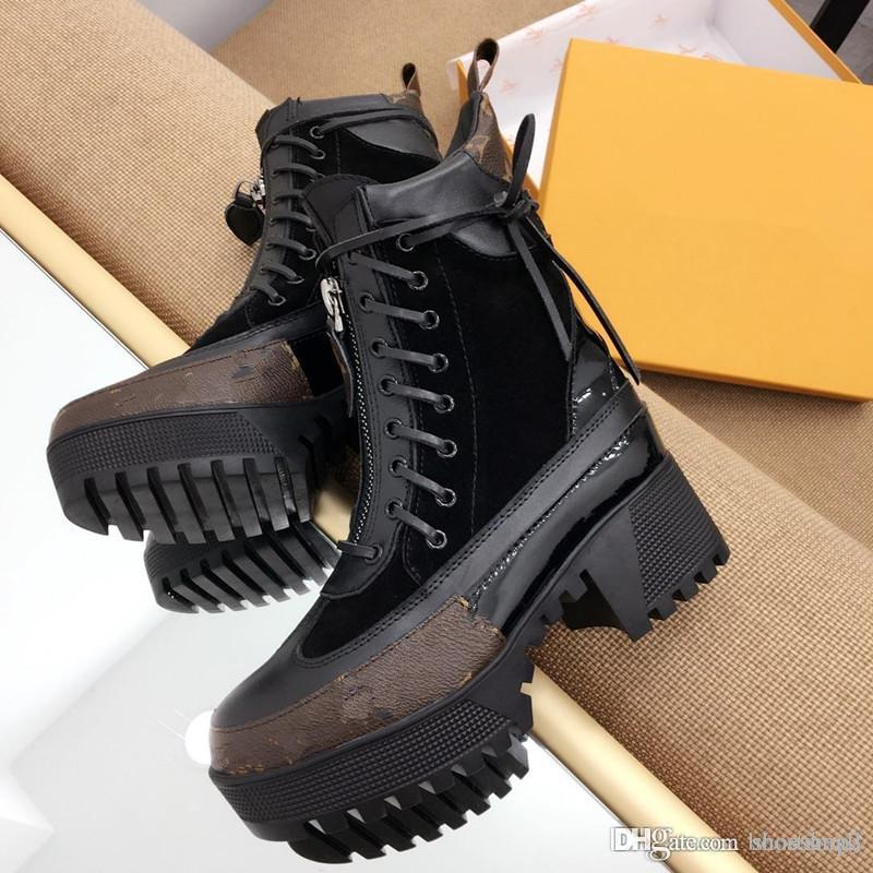 9376536cc94 Luxury designer boots Women Desert Boot chunky heel Martin shoes Print  Leather Platform Desert Lace-up Boot 5cm 9 colors with box
