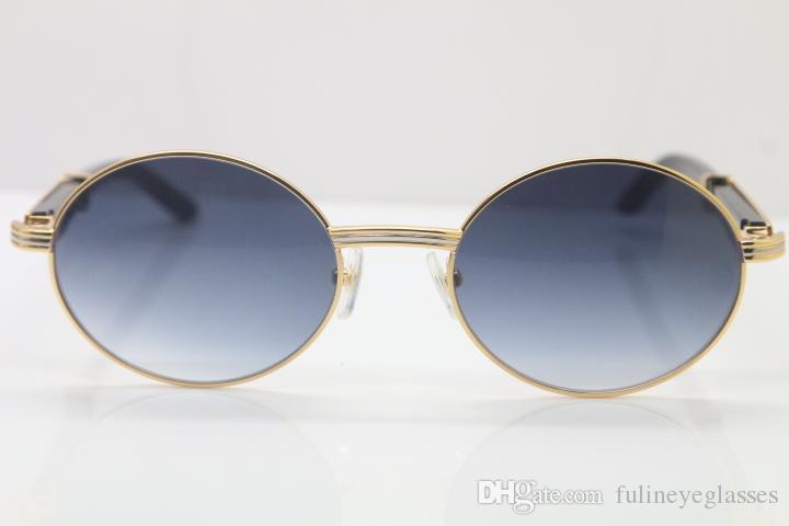 Livraison gratuite 18k Gold Black Buffalo Horn Lunettes Hommes 7550178 Lunettes de soleil rondes en métal designer de marque de gros