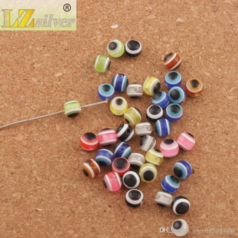/ 6mm 이블 아이 스트라이프 라운드 수지 스페이서 비즈 여러 가지 빛깔의 L3041 느슨한 구슬 뜨거운 판매 보석 DIY