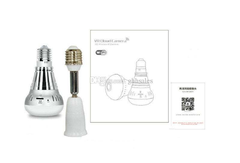 E27 LED bombilla cámara IP inalámbrica WIFI FishEye 1080P 360 grados Mini CCTV cámara panorámica 1.3MP cámara IP de seguridad para el hogar gratuito