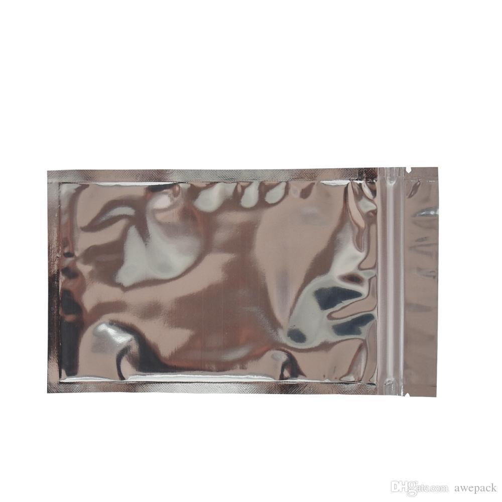 100 unidades 10 * 17.5 cm Transparente Delantero De Plata De Aluminio Bolsas De Empaque De Mylar Bolsas Al Por Menor De Plástico Transparente Con Cremallera Con Cremallera Con Cremallera Empaquetado De Calidad Alimentaria Paquete Paquete
