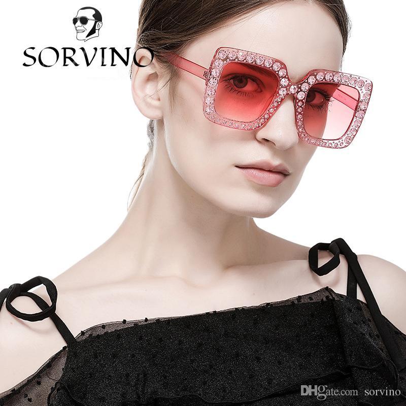 f50b034c7f SORVINO 2018 Oversized Square Frame Rhinestone Sunglasses Women Luxury  Brand Designer Vintage 0148 Diamond Pink Crystal Sun Glasses Shades  Baseball ...