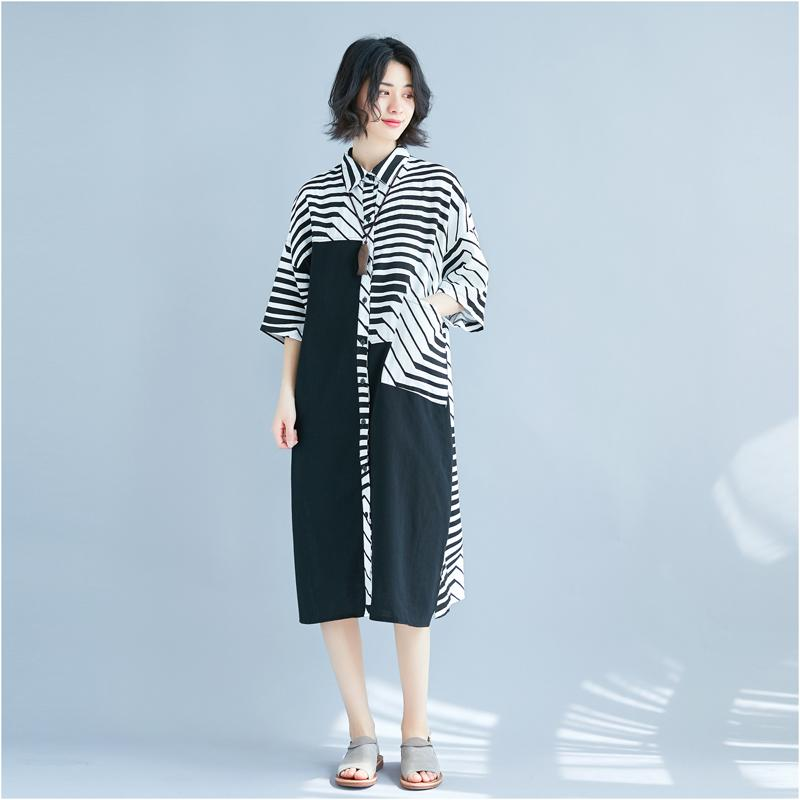 8b42d0a24c 2019 Women Summer Cotton Linen Dress 2018 Female Clothing Plus Size Fashion  Literary Striped Print Contrast Color Long Shirt Dres From Missher