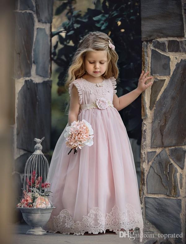 2020 Belle lumière rose Fleur Fille Robe de cérémonie pour les mariages d'enfants Pageant Robes A-ligne dentelle Appliqued robe de première communion