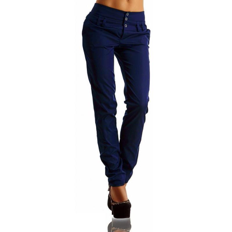 Femmes Pantalon 2017 Automne Dames Taille Haute Boutons Zipper Solide Long Pantalon Casual Slim Pantalon Capris Plus La Taille S-3XL