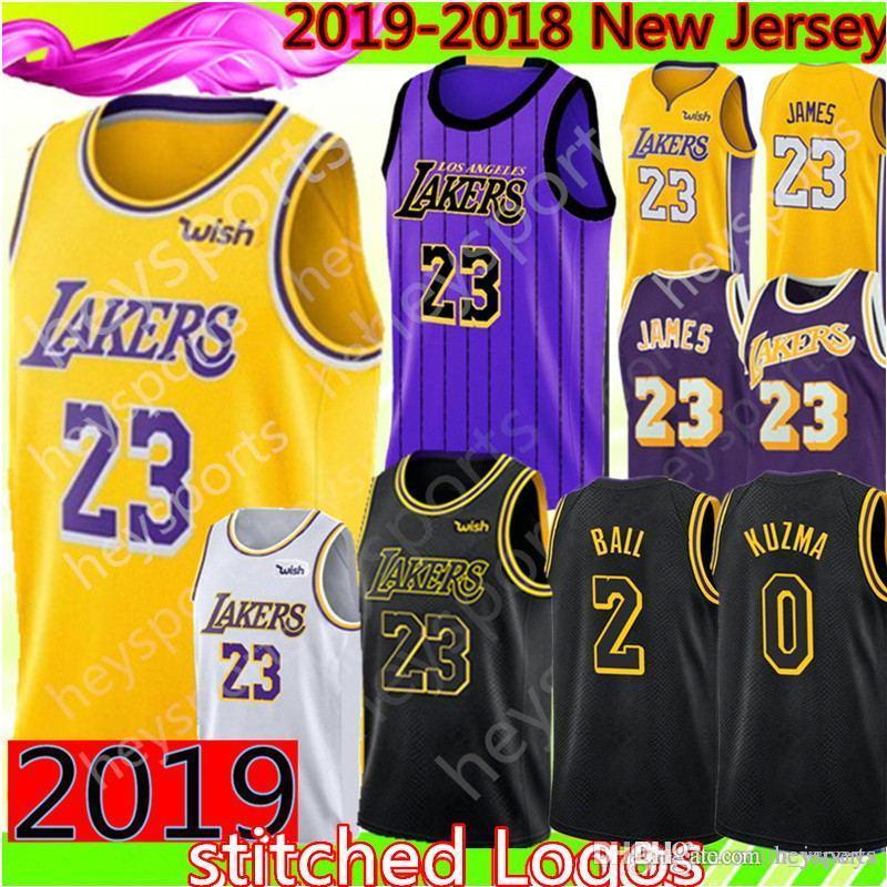 73e847ce4 2019 New 23 LeBron James Los Angeles Lakers Jersey Mens 2 Lonzo Ball 0 Kyle  Kuzma 14 Brandon Ingram Black city