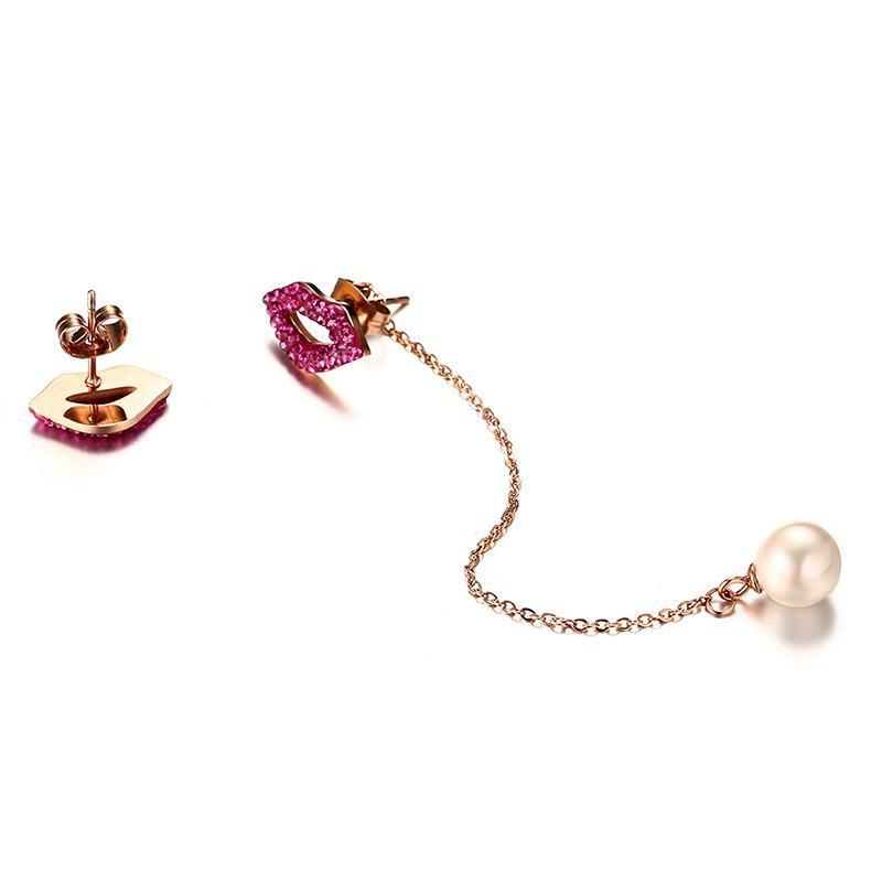 Vnox Sexy Asymmetry Sexy Lips Women Jewelry Set Long Drop Earrings + Choker Necklaces Silmulated Pearl Charm Dangle Sets