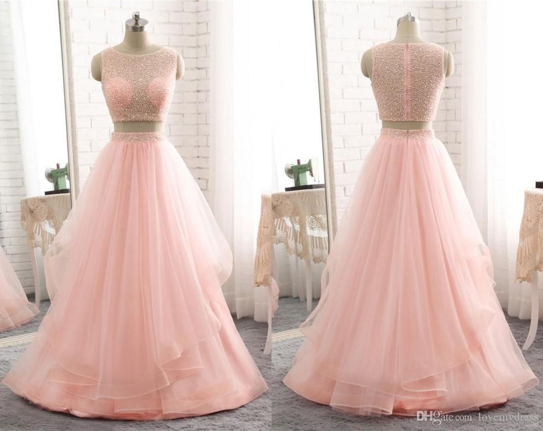Peach Two Pieces Prom Dress Cheap Long Sheer Neck Hollow Back ...